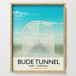 Bude Tunnel - Cornwall travel poster Serving Tray