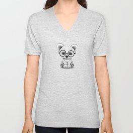 Cute Polar Bear Cub with Eye Glasses on Teal Blue Unisex V-Neck