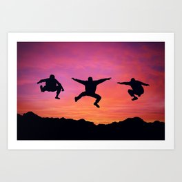 happy three friends Art Print