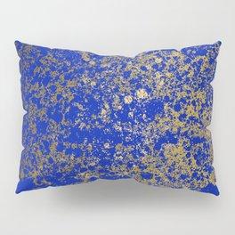 Royal Blue and Gold Patina Design Pillow Sham