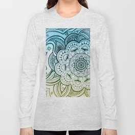 Mandala Blue Yellow Long Sleeve T-shirt