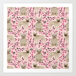 French Bulldog fawn coat cherry blossom florals dog pattern floral dog breeds Art Print
