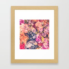 Beautiful background with different flowers Framed Art Print