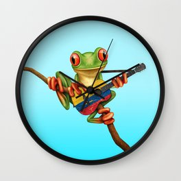 Tree Frog Playing Acoustic Guitar with Flag of Colombia Wall Clock