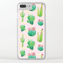 Cacti Pattern Clear iPhone Case