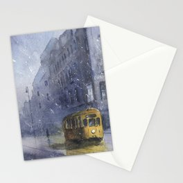 An old yellow tram Stationery Cards