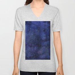Galaxy Watercolor Nebula Texture Night Sky Stars Unisex V-Neck