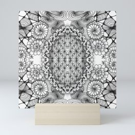 Black and White Zentangle Tile Doodle Design Mini Art Print
