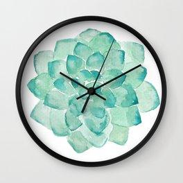 Watercolor Succulent print in seafoam green Wall Clock