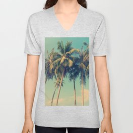 ALOHA - vintage tropical palm trees on the beach Unisex V-Neck