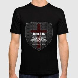 John 3.16 - Bible Verse Word Shield T-shirt
