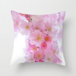 Botanical blush pink white cherry blossom floral Throw Pillow