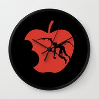 death note Wall Clocks featuring Death Note by bosphorus