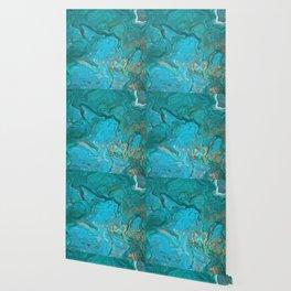 Fluid Nature - Malachite Flows - Acrylic Pour Art Wallpaper