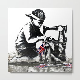 Banksy Little Boy Sewing Machine Graffiti Art Metal Print