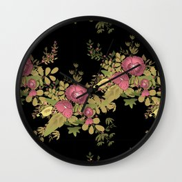 Colorful floral pattern on a black background . Wall Clock