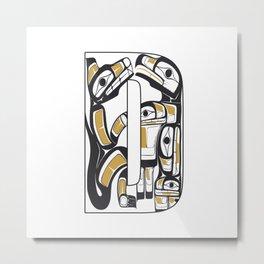 Northwest Pacific Coast American Native Totem Letter D Metal Print