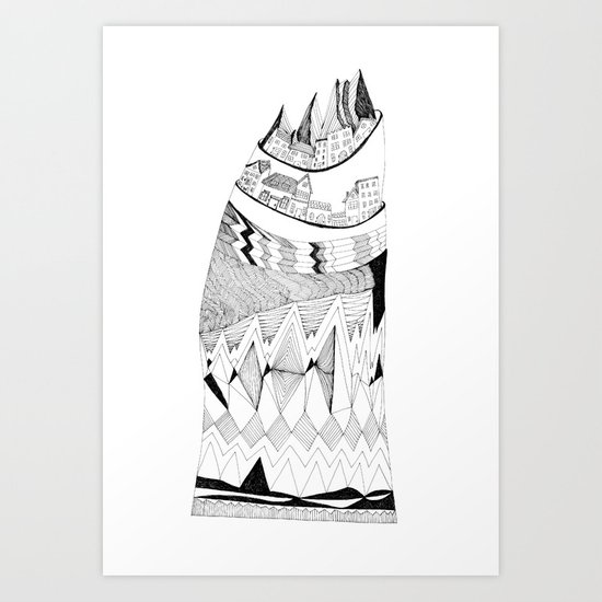 The Town Atop a Hill Art Print