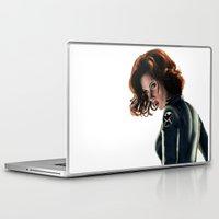 black widow Laptop & iPad Skins featuring Black Widow by Christine Tromop
