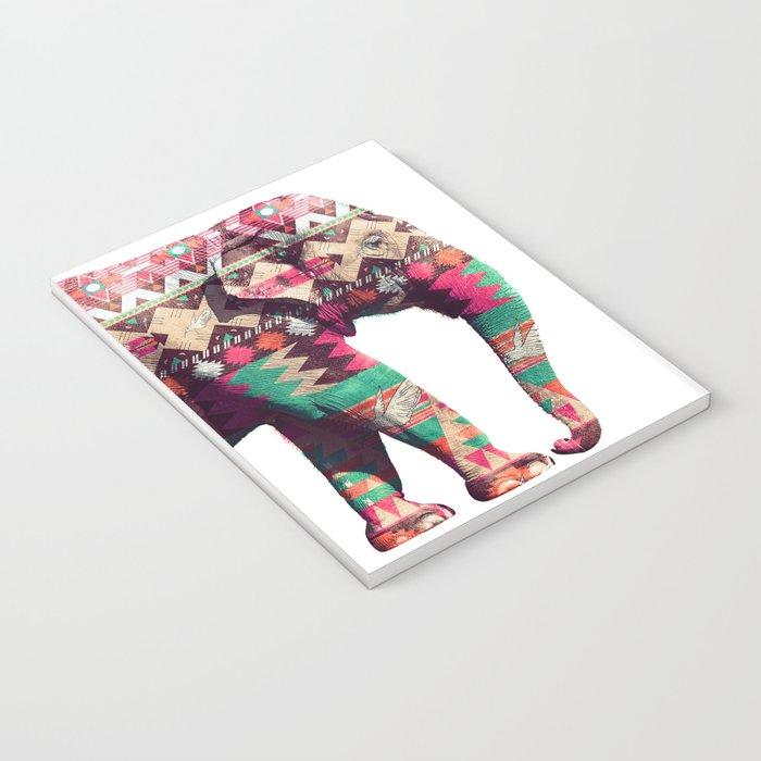 Whimsical Aztec Elephant Pink Turquoise Geometric Notebook