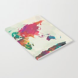 Watercolor World Map Notebook