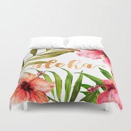 Aloha Watercolor Tropical Hawaiian leaves and flowers Duvet Cover
