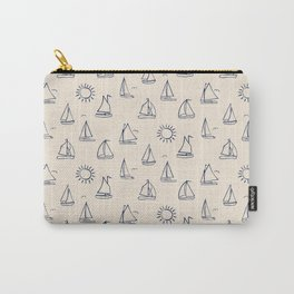 Sunny Sailboats Sketch on Cream Carry-All Pouch