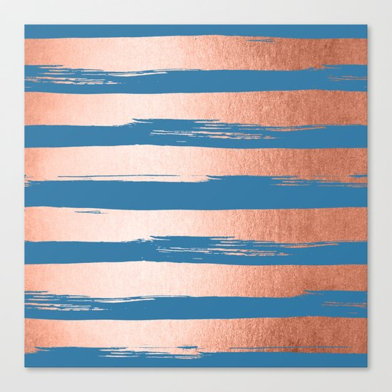 Trendy Stripes Sweet Peach Coral Pink + Saltwater Taffy Teal Canvas Print