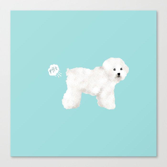 Bichon Frise dog breed funny dog fart Leinwanddruck
