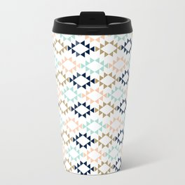 Aztec - Geometric tribal pattern in navy, gold glitter, pink, and blush Travel Mug