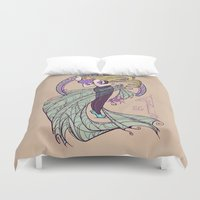 nouveau Duvet Covers featuring Spider Nouveau by Karen Hallion Illustrations