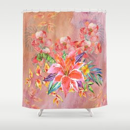 Hawaiian Lily Garden in Watercolor Shower Curtain