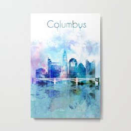 Columbus city watercolor skyline Metal Print