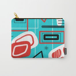 Turquoise Red Black Mid Mod Print Carry-All Pouch