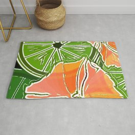 Citrus Slices With Flowers 3 Rug