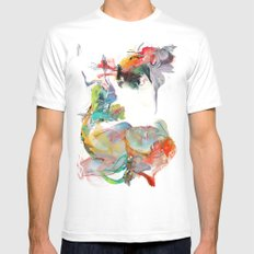Drifting Particles MEDIUM White Mens Fitted Tee