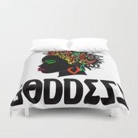 goddess Duvet Covers featuring Goddess by RespecttheQueenDecor