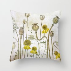 Poppies and Heleniums Throw Pillow