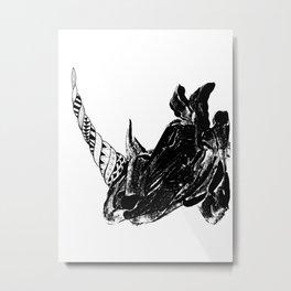 Monoprint Rhino Metal Print
