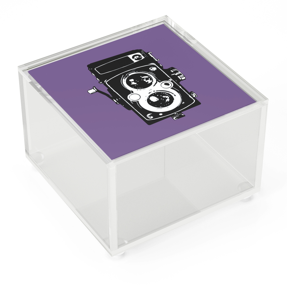 Big_Vintage_Camera_Love__Black_on_Purple_Background_Acrylic_Box_by_vivagirlco