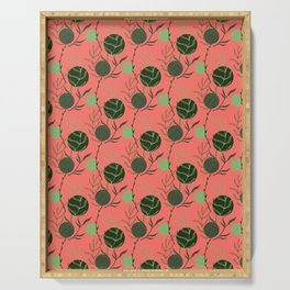 Floral Pattern   Forest Green on Living Coral Serving Tray