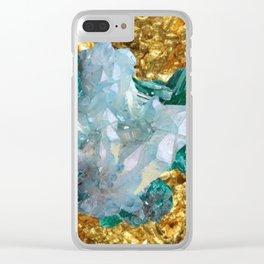WHITE QUARTZ &  AQUAMARINE CRYSTALS  ON GOLD Clear iPhone Case