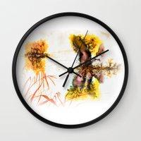 fog Wall Clocks featuring Fog by MARIA BOZINA - PRINT