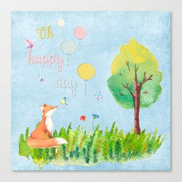 Fox - oh happy day on blue background - Watercolor illustration Canvas Print