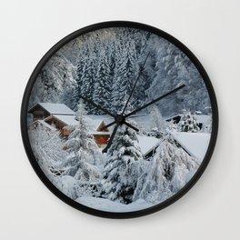 Winter in Alpine Village-1 Wall Clock