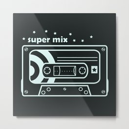 Black and White Mix Cassette Metal Print