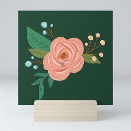 Painted Florals on Green Mini Art Print