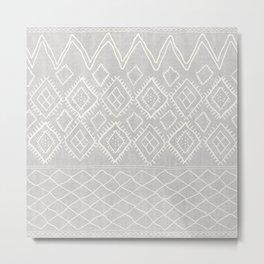 Beni Moroccan Print in Grey Metal Print