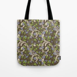 Blue morning glory with ornaments on brown background Tote Bag