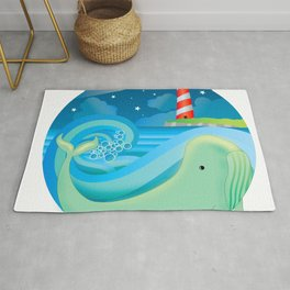 swimming whale Rug